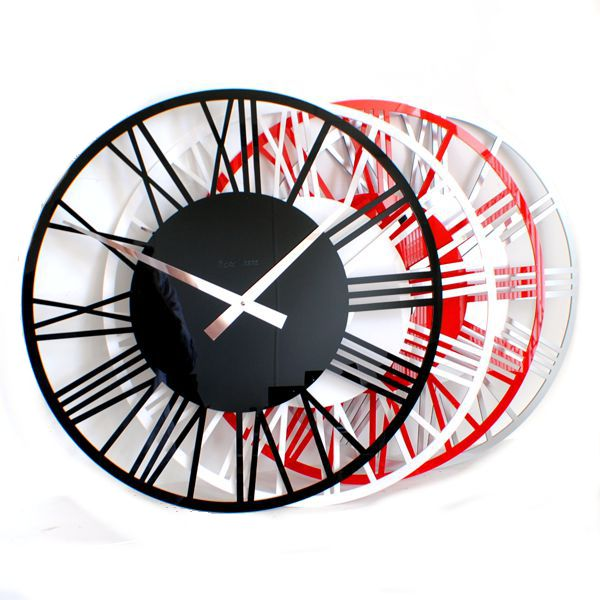 black and red gloss acrylic round skeleton wall clocks