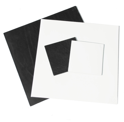 black and white square leather place-mats and coasters