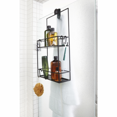 black metal two shelf bathroom shower caddy holding 4 bottles and a sponge in a shower