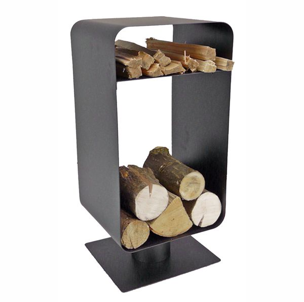modern black metal log holder on stand with logs in the base and kindling on a shelf