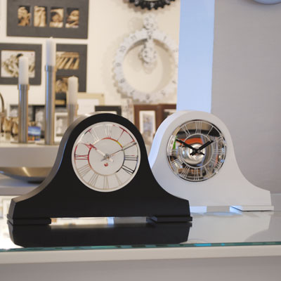 classic shape black mantel clock with white face and a white version with black face