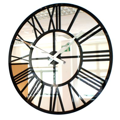 gloss Modern Vintage Mirror Skeleton Wall Clock