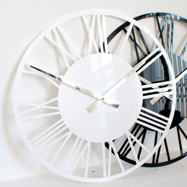 white and black gloss acrylic round skeleton wall clocks