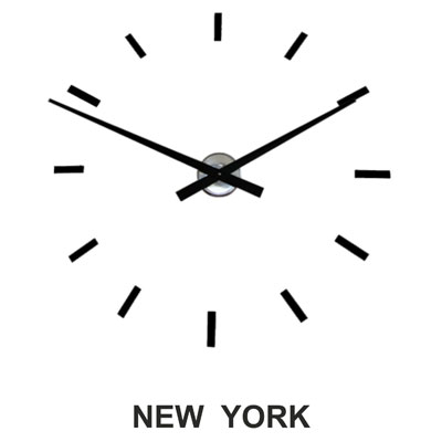 simple black hand wall clock with a New York sign below