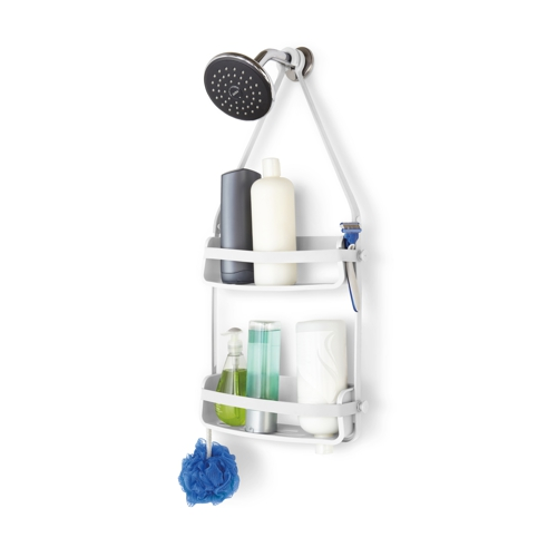 Umbra Flex 2 shelf Shower Caddy with 2 bottles and 2 tubes and blue sponge