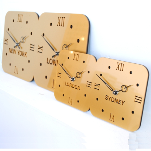 side view of double gold acrylic timezone wall clock