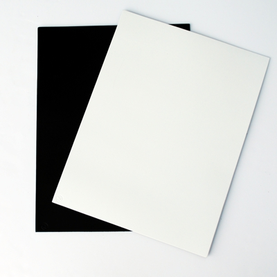 black and white rectangle leather placemats