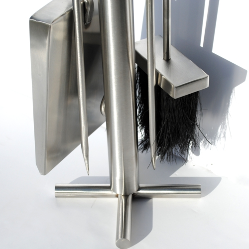 close up of the base of Roco Verre five piece Brushed steel Cross Fireside Tool Se