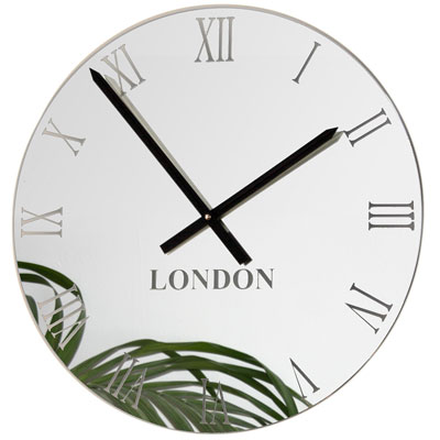 face on of mirror timezone wall clock