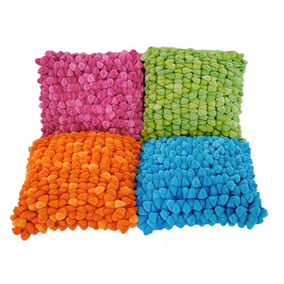 Dreamweavers Chamois Bright Pebble Cushions pink, orange, blue and lime