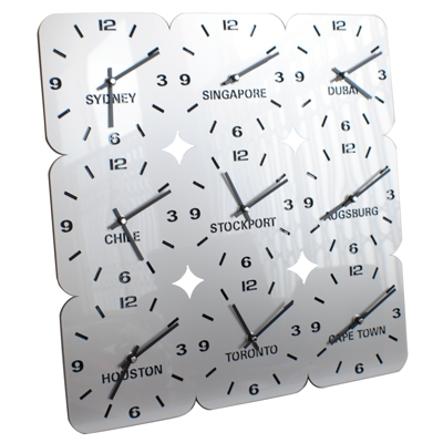 large square silver acrylic wall clock with nine timezones