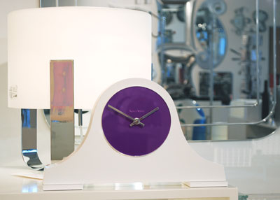 classic shape white mantel clock with purple face