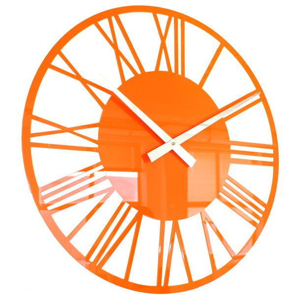 side view of an orange acrylic round skeleton wall clock