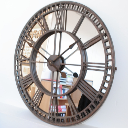 situ Antique Mirror Iron Roman Skeleton Wall Clock