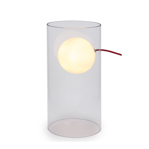 "Glass Tube with ""Floating Light Ball"" Table Lamp with light on"