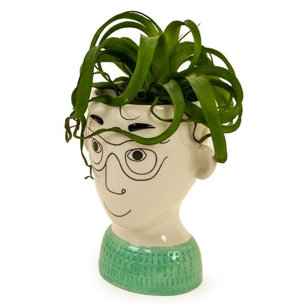 Doodle Man Ceramic Vase Glasses with plant