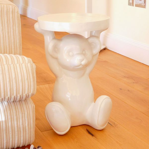 Gloss White Funky Modern Teddy Bear Side Table in Situ