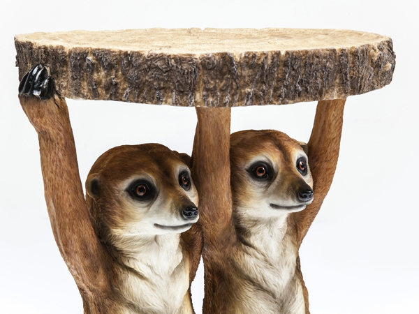 close up holding table Meerkat Sisters Side Table