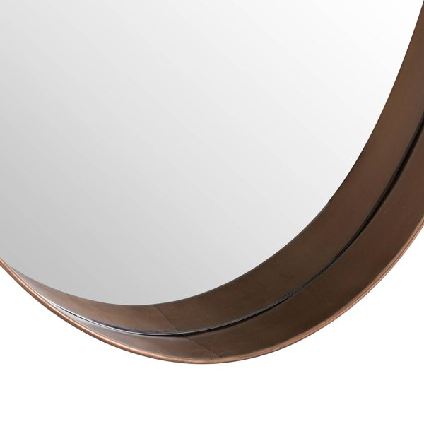 Oval Mirror With Protruding Edge Copper close up