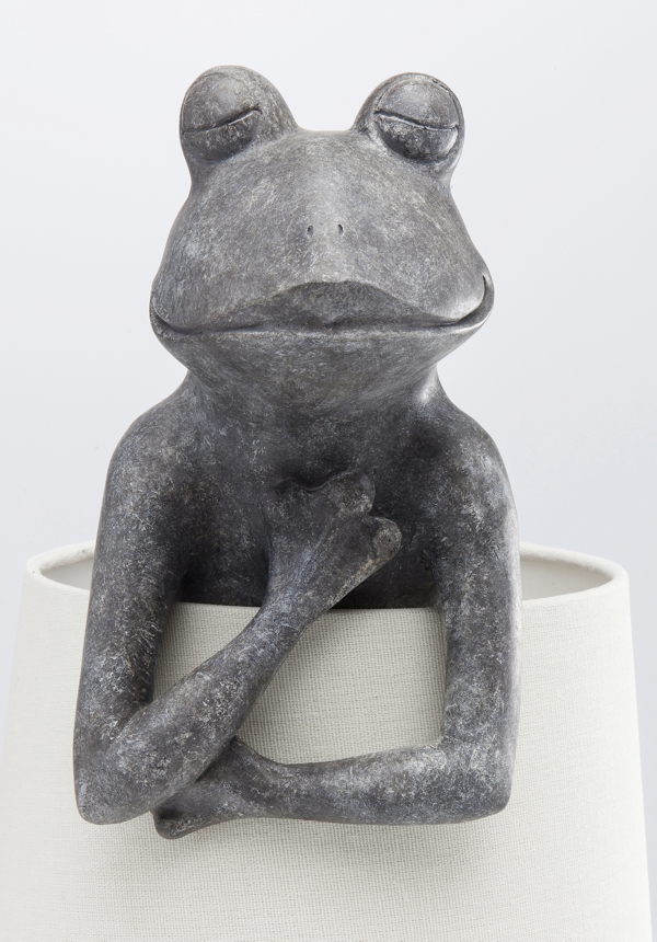 close up Frog Table Lamp With White Shade