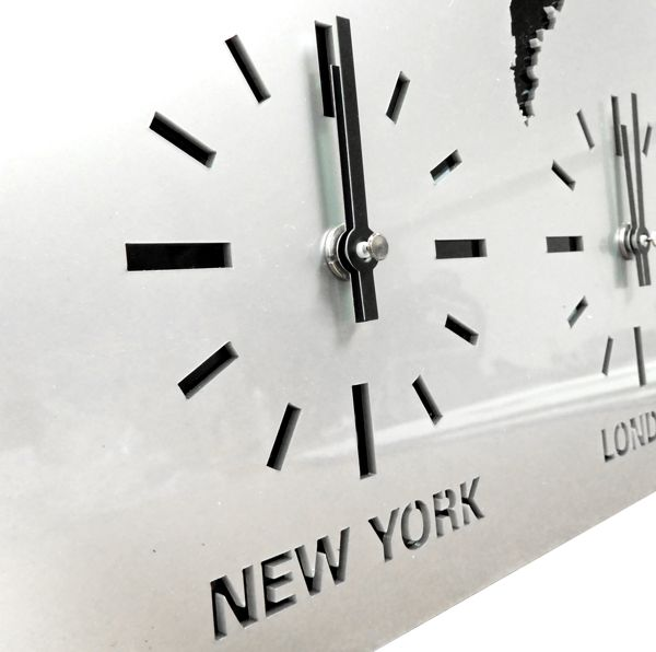 close up Roco Verre Acrylic Map Clock
