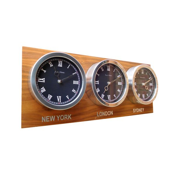 side view of Custom Time Zone triple 18cm Clocks Walnut