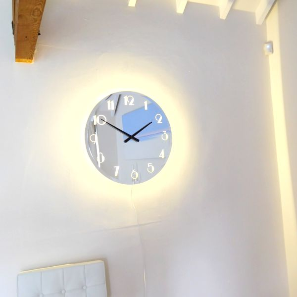 Illuminated Bevelled Roman Mirror Wall Clock Light