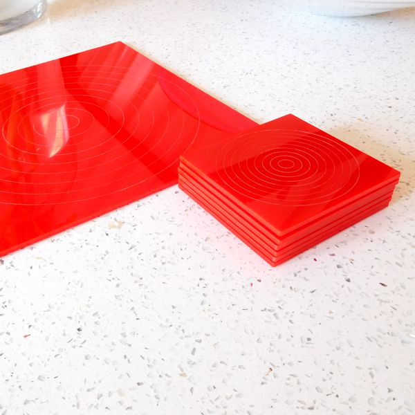 Red Gloss Circlets Coasters And Placemats