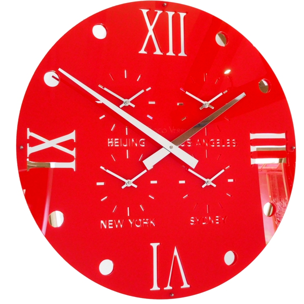 close up Gloss red Round Retro Roman Timezone Wall Clock
