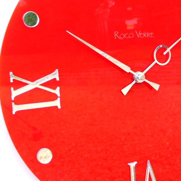 Gloss red Roco Verre Round Retro Roman Gloss Wall Clock