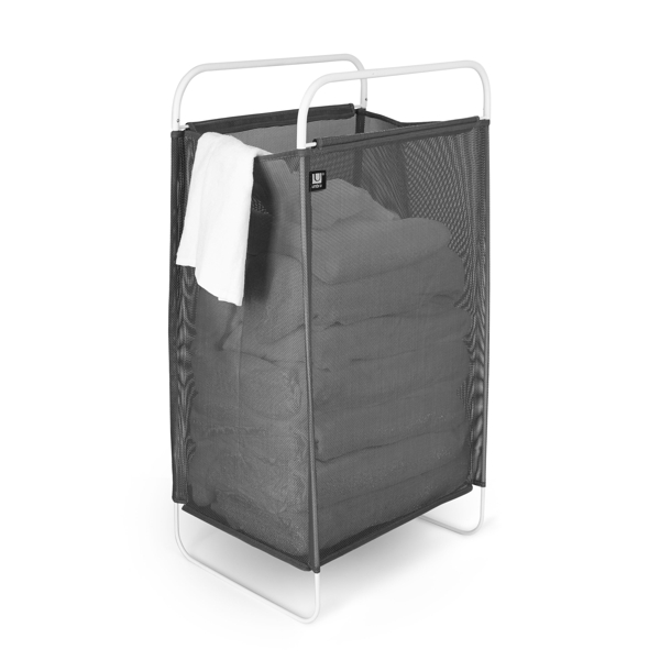 side view Umbra Cinch Laundry Hamper made of grey fabric on a chrome frame
