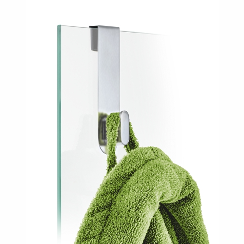 Blomus Areo Brushed Glass Shower Over Door Hook with green towel