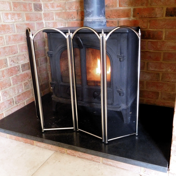 in front of a log burner Cavendish Folding Pewter Fireplace Screen