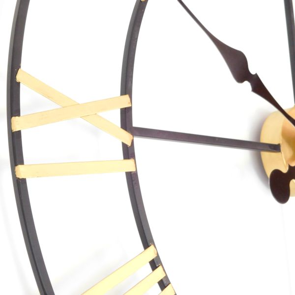 close up New Haven Gold and Black Skeleton Wall Clock