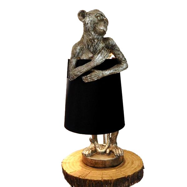 Antique Silver Monkey Table Lamp With Black Velvet Shade Uk