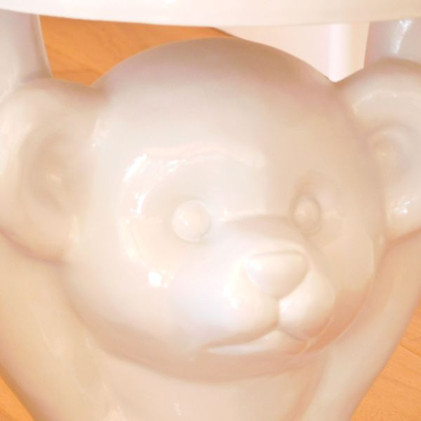 Close up Gloss White Funky Modern Teddy Bear Side Table