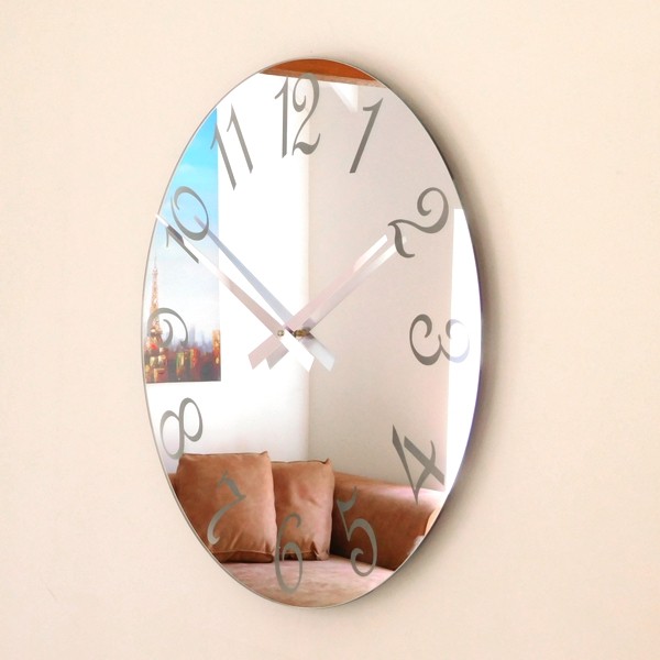 Roco Verre French Numbers Mirror Clock Frosted