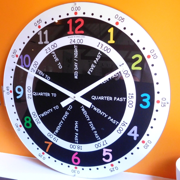 close up round time teaching school wall clocks.