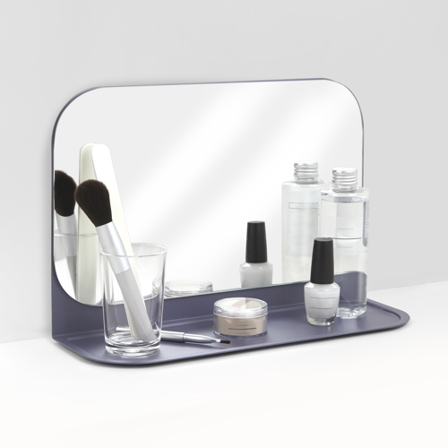 Umbra Pose Wall Shelf and Mirror Indigo In Use