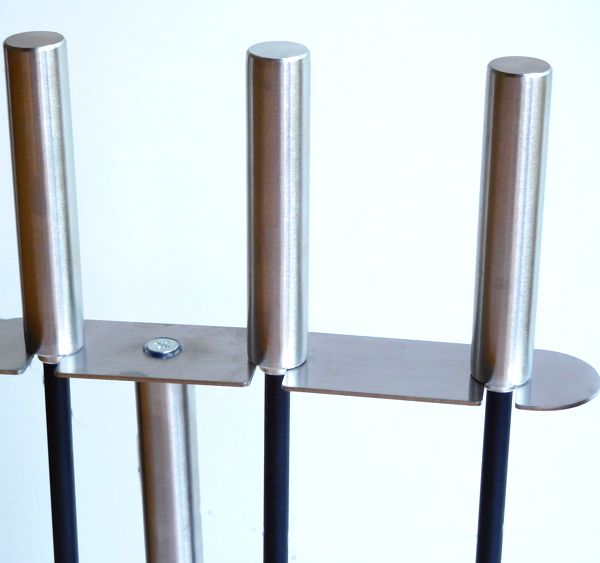 close up of the brushed steel handles of Compact Modern Fireside Companion Tool Set
