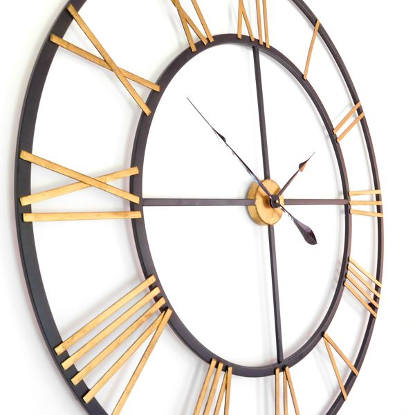 Skeleton Roman Metal Wall Clock Gold Black Uk