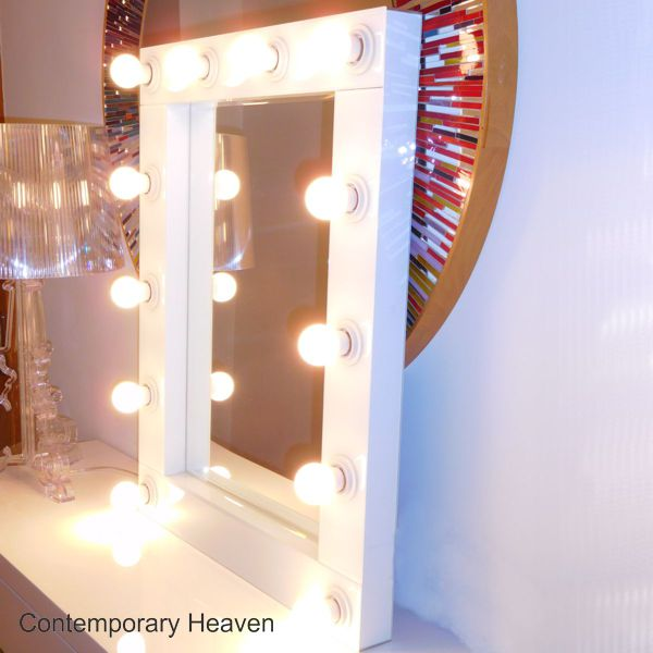 Gloss White Bevelled Hollywood Wall Mirror on gloss white console table