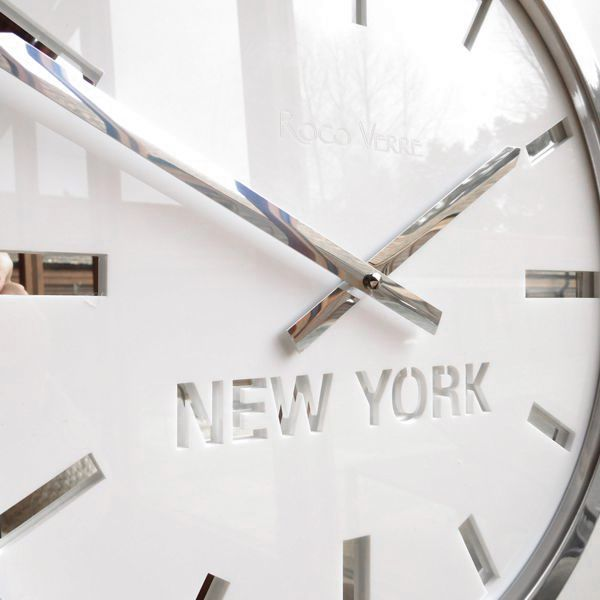 side view of white timezone clock