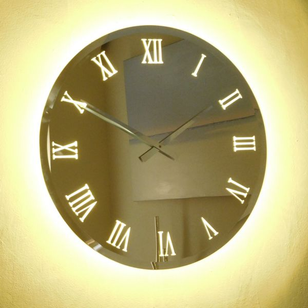 dark picture Illuminated Bevelled Roman Mirror Wall Clock Light