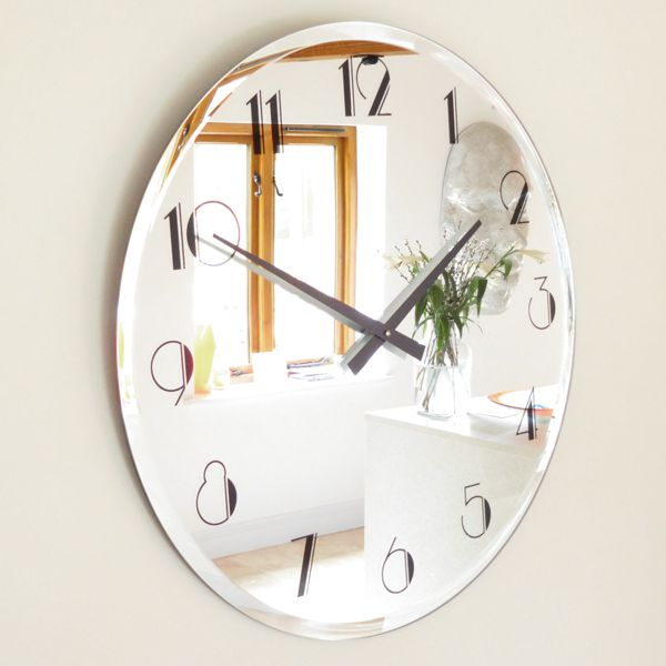 bevelled edge deco style mirror wall clock
