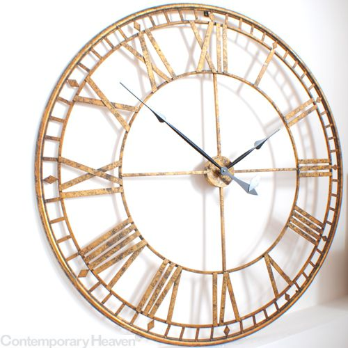gold skeleton wall clock