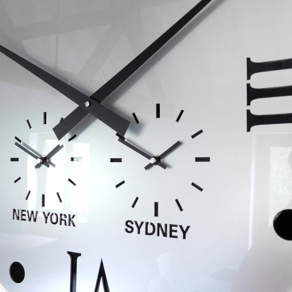 close up silver grey Round Retro Roman Timezone Wall Clock