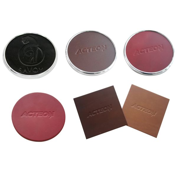 personalised leather coasters assorted