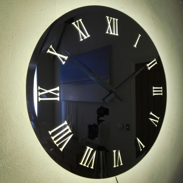 roman mirror wall clock with LED back lighting