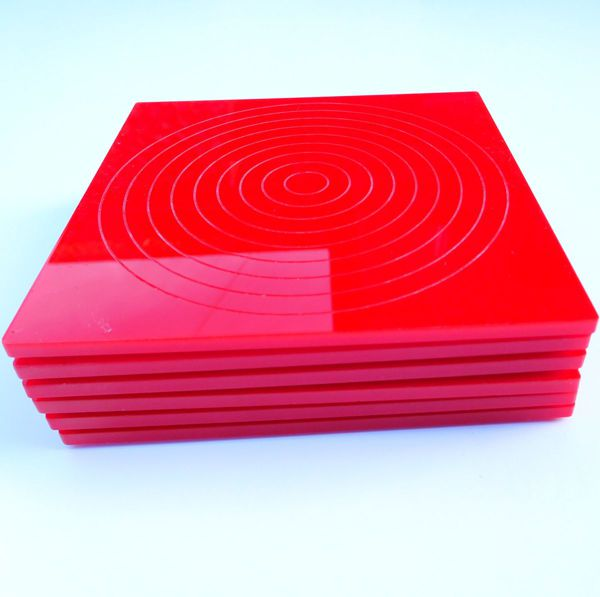 set of six red coasters